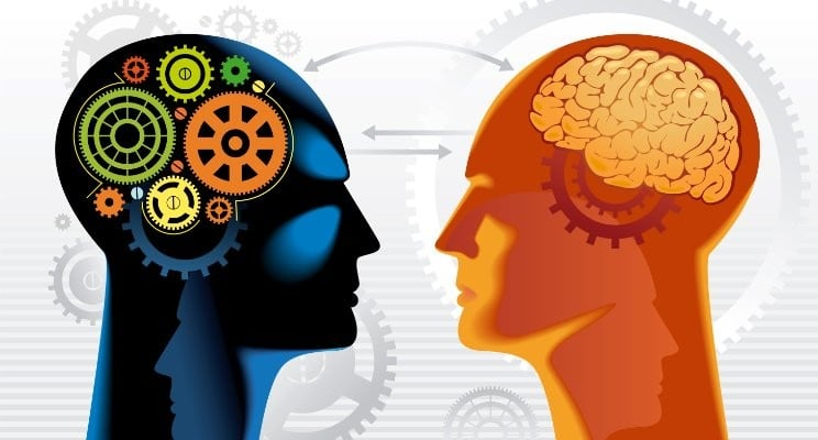 Picture of 2 heads illustrating the concept of HR chatbots and that the challenge is training chatbots to understand language