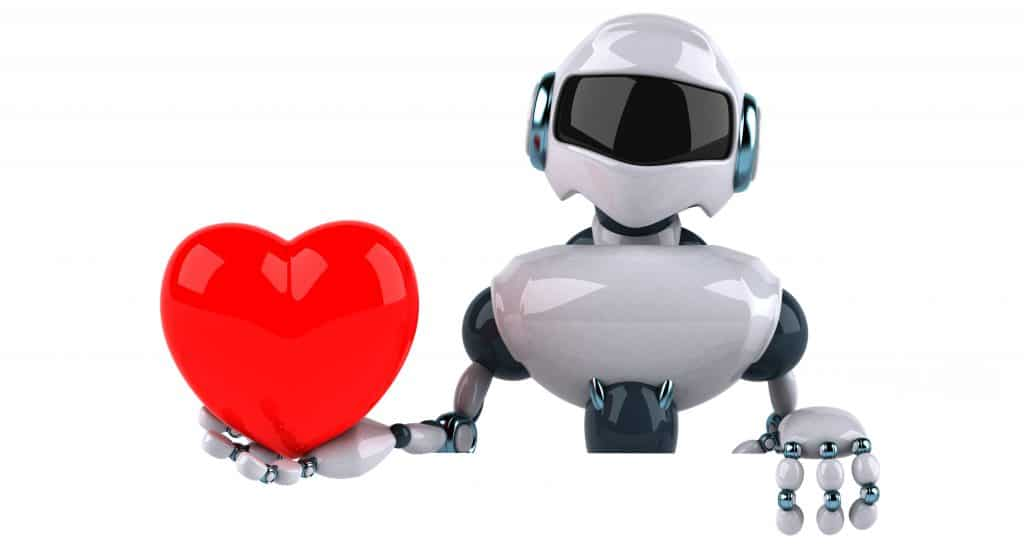 Artificial Intelligence Robot holding a heart in its hand illustrating flirting with a chatbot